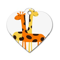 Giraffe Africa Safari Wildlife Dog Tag Heart (two Sides)