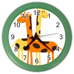 Giraffe Africa Safari Wildlife Color Wall Clocks