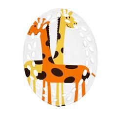 Giraffe Africa Safari Wildlife Oval Filigree Ornament (two Sides) by Nexatart