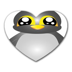 Cute Penguin Animal Heart Mousepads by Nexatart