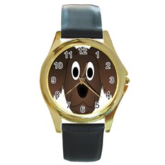 Dog Pup Animal Canine Brown Pet Round Gold Metal Watch
