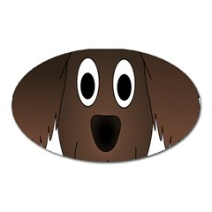Dog Pup Animal Canine Brown Pet Oval Magnet by Nexatart