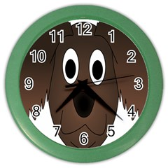 Dog Pup Animal Canine Brown Pet Color Wall Clocks
