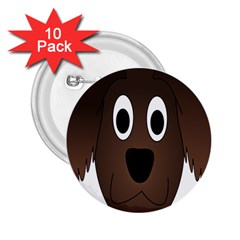 Dog Pup Animal Canine Brown Pet 2 25  Buttons (10 Pack)