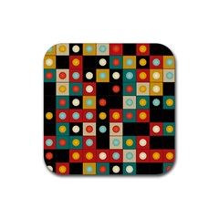 Colors On Black Rubber Coaster (square)  by linceazul