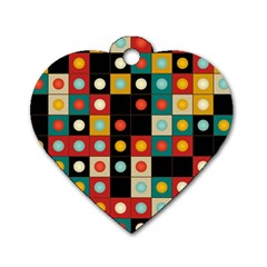 Colors On Black Dog Tag Heart (two Sides) by linceazul