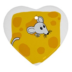 Rat Mouse Cheese Animal Mammal Ornament (heart)