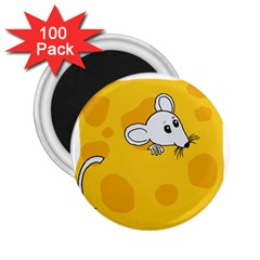 Rat Mouse Cheese Animal Mammal 2 25  Magnets (100 Pack)  by Nexatart