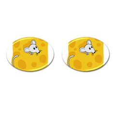 Rat Mouse Cheese Animal Mammal Cufflinks (oval) by Nexatart