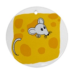Rat Mouse Cheese Animal Mammal Round Ornament (two Sides)