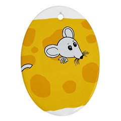 Rat Mouse Cheese Animal Mammal Oval Ornament (two Sides)