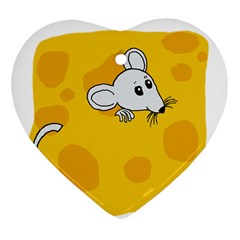 Rat Mouse Cheese Animal Mammal Heart Ornament (two Sides)