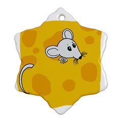 Rat Mouse Cheese Animal Mammal Snowflake Ornament (two Sides)