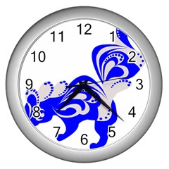 Skunk Animal Still From Wall Clocks (silver)  by Nexatart