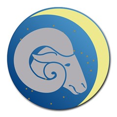 Ram Zodiac Sign Zodiac Moon Star Round Mousepads by Nexatart