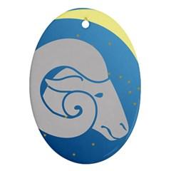 Ram Zodiac Sign Zodiac Moon Star Ornament (oval) by Nexatart