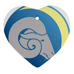 Ram Zodiac Sign Zodiac Moon Star Ornament (heart) by Nexatart