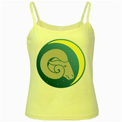 Ram Zodiac Sign Zodiac Moon Star Yellow Spaghetti Tank by Nexatart