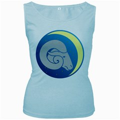 Ram Zodiac Sign Zodiac Moon Star Women s Baby Blue Tank Top by Nexatart