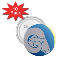 Ram Zodiac Sign Zodiac Moon Star 1 75  Buttons (10 Pack)