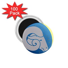 Ram Zodiac Sign Zodiac Moon Star 1 75  Magnets (100 Pack)