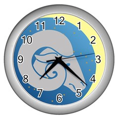 Ram Zodiac Sign Zodiac Moon Star Wall Clocks (silver)  by Nexatart