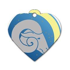 Ram Zodiac Sign Zodiac Moon Star Dog Tag Heart (one Side)