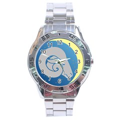 Ram Zodiac Sign Zodiac Moon Star Stainless Steel Analogue Watch