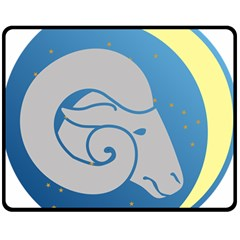 Ram Zodiac Sign Zodiac Moon Star Double Sided Fleece Blanket (medium)