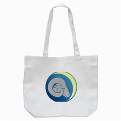 Ram Zodiac Sign Zodiac Moon Star Tote Bag (white)