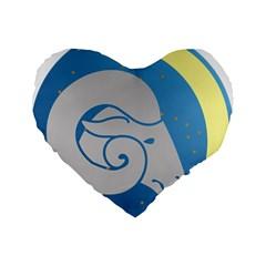 Ram Zodiac Sign Zodiac Moon Star Standard 16  Premium Flano Heart Shape Cushions