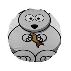 Bear Polar Bear Arctic Fish Mammal Standard 15  Premium Flano Round Cushions by Nexatart