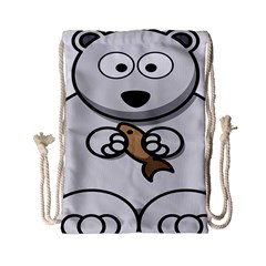 Bear Polar Bear Arctic Fish Mammal Drawstring Bag (small)
