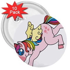 Unicorn Arociris Raimbow Magic 3  Buttons (10 Pack)  by Nexatart