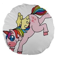 Unicorn Arociris Raimbow Magic Large 18  Premium Flano Round Cushions by Nexatart