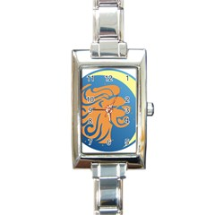 Lion Zodiac Sign Zodiac Moon Star Rectangle Italian Charm Watch