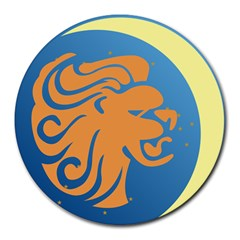 Lion Zodiac Sign Zodiac Moon Star Round Mousepads by Nexatart