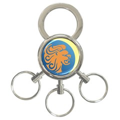 Lion Zodiac Sign Zodiac Moon Star 3 Ring Key Chains