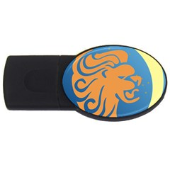 Lion Zodiac Sign Zodiac Moon Star Usb Flash Drive Oval (2 Gb) by Nexatart