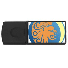 Lion Zodiac Sign Zodiac Moon Star Rectangular Usb Flash Drive