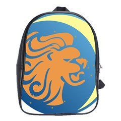Lion Zodiac Sign Zodiac Moon Star School Bag (large)