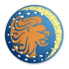 Lion Zodiac Sign Zodiac Moon Star Ornament (round Filigree)