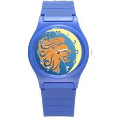 Lion Zodiac Sign Zodiac Moon Star Round Plastic Sport Watch (s) by Nexatart