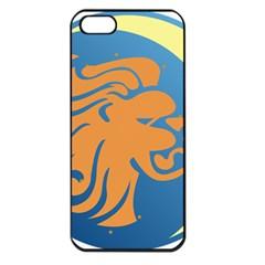 Lion Zodiac Sign Zodiac Moon Star Apple Iphone 5 Seamless Case (black)