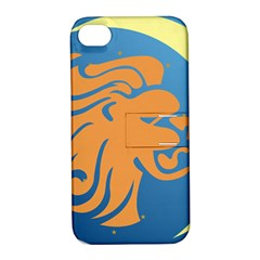 Lion Zodiac Sign Zodiac Moon Star Apple Iphone 4/4s Hardshell Case With Stand