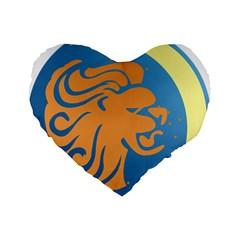 Lion Zodiac Sign Zodiac Moon Star Standard 16  Premium Flano Heart Shape Cushions by Nexatart