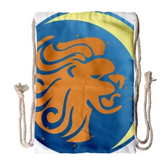 Lion Zodiac Sign Zodiac Moon Star Drawstring Bag (large)