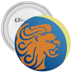Lion Zodiac Sign Zodiac Moon Star 3  Buttons