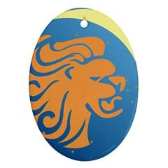 Lion Zodiac Sign Zodiac Moon Star Ornament (oval) by Nexatart