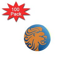 Lion Zodiac Sign Zodiac Moon Star 1  Mini Magnets (100 Pack)  by Nexatart